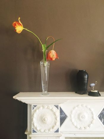 Vase Flower Indoors  Home Interior No People Simplicity Simple Photography Tulips Fireplace Brown Brown Background Historic Antique Simple Imperfection Drooping Flowers Droopy English Dutch Natural Corners Day Fragility Beauty In Nature Water