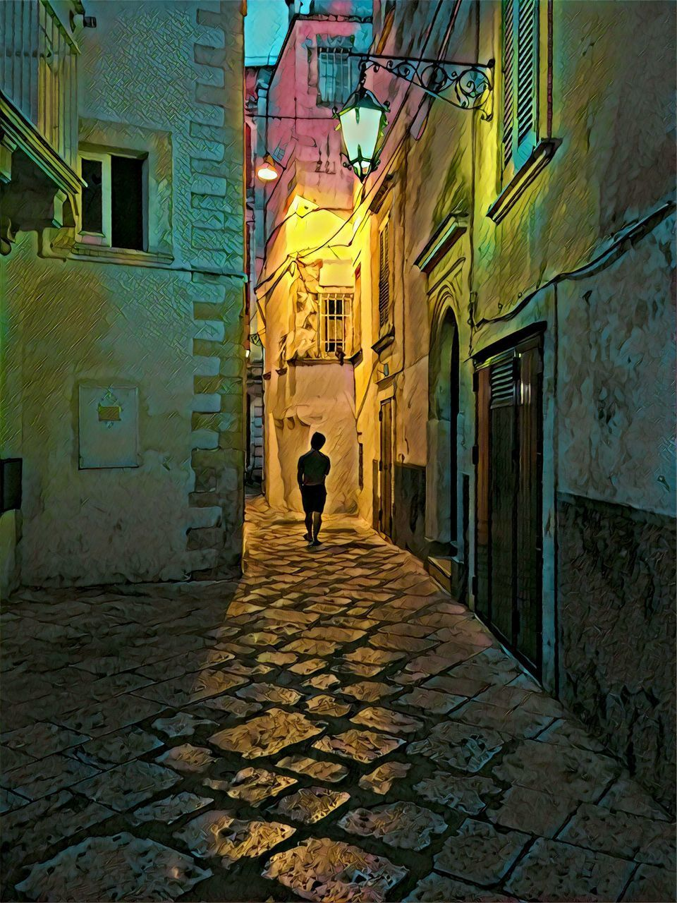 architecture, built structure, building exterior, one person, real people, building, city, street, walking, rear view, full length, lifestyles, cobblestone, direction, men, residential district, footpath, the way forward, alley, outdoors, paving stone