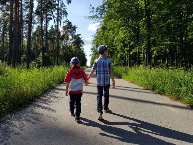 Children Childhood Walking Boys The Way Forward Outdoors Togetherness Fammily Brothers Brotherhood Real People Tree Day Nature forever together Woods The Way Foward Forest Walk Son