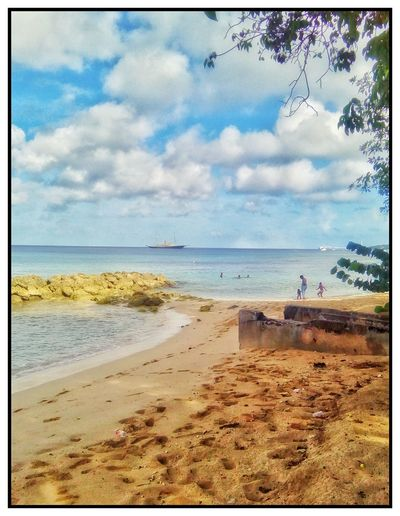Beach seen Beautiful Wonderful Popular Women And Children Barbados West Indies On The Beach Beach Sea Sand Water Horizon Over Water Sky Shore Nature Cloud - Sky Beauty In Nature Vacations