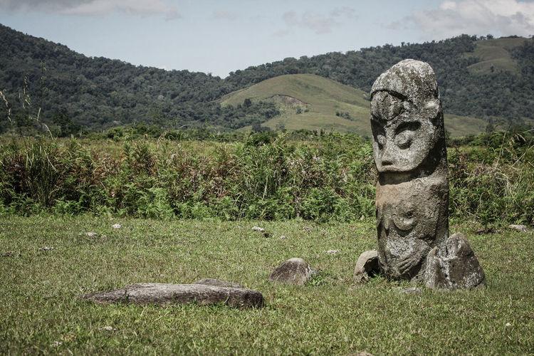 Tadulako statue in doda village, poso, central sulawesi, indonesia.