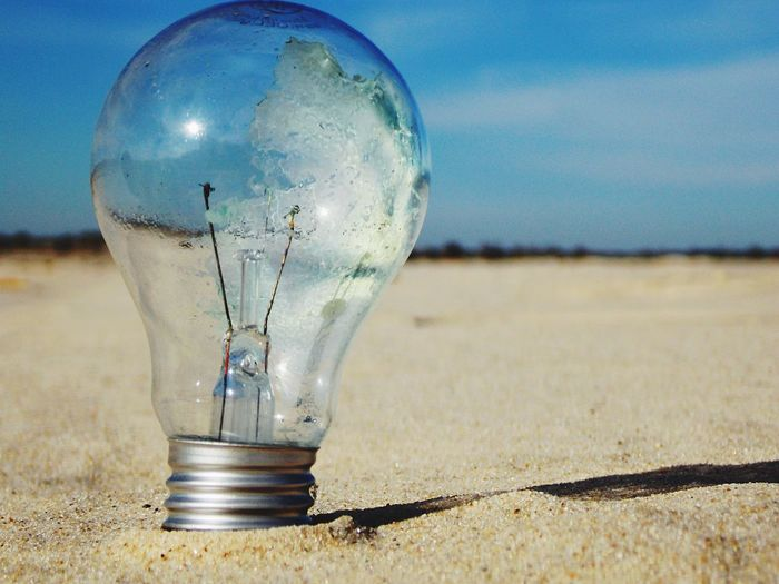 Light Bulb Nature Sand Transparent Close-up Land Lighting Equipment Beach Glass - Material Outdoors