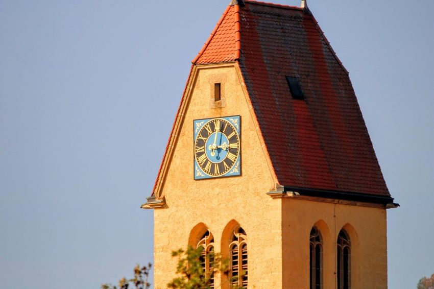 Old church Clock Face Cityscape Clear Sky King - Royal Person Blue Business Finance And Industry Religion Sky Architecture Building Exterior Bell Tower - Tower Historic Bell Tower Catholicism Church Christianity Clock Tower Office Building Tower
