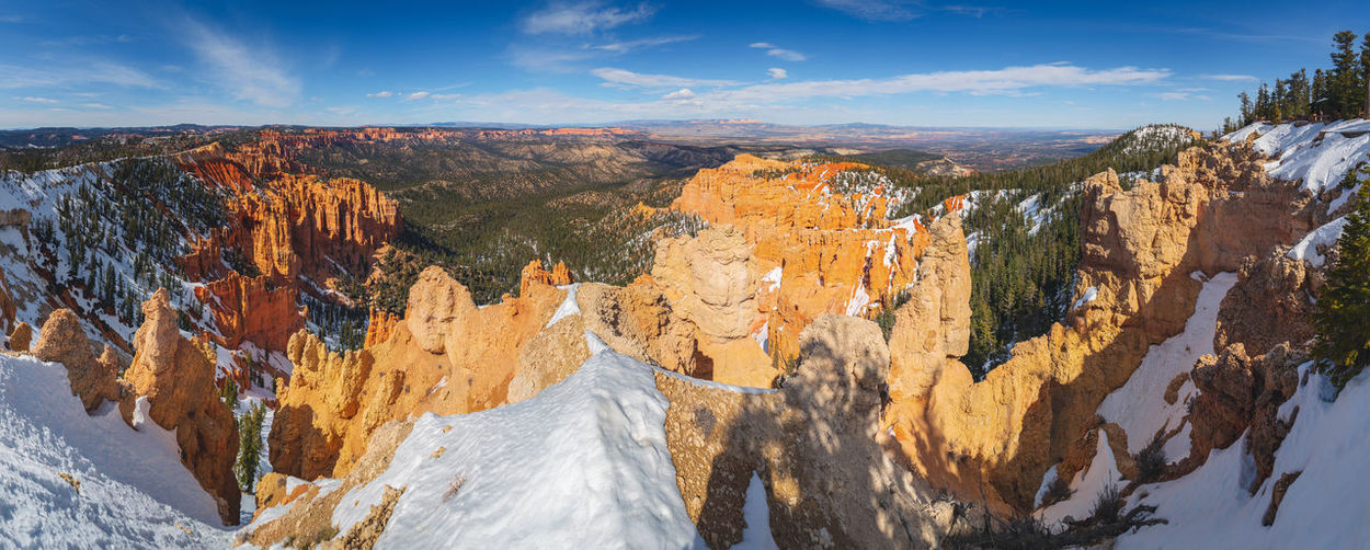Bryce canyon national park, Utah, USA Cloudy National Park Nature Panorama Rock Rock Formation Beauty In Nature Bryce Canyon National Park Day No People Scenery Sky Snow Valley