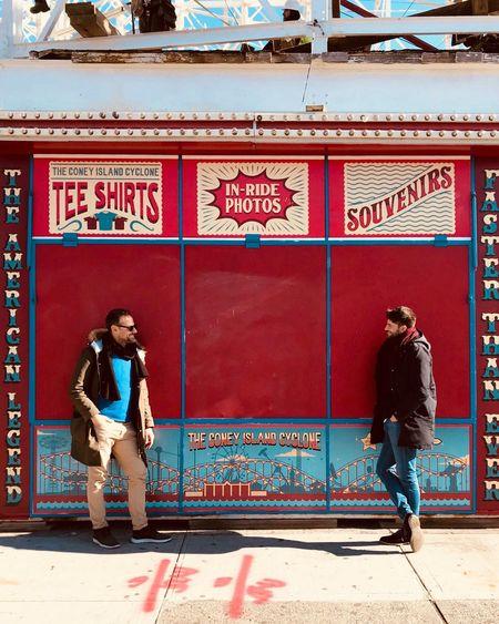 Coney Island. ShotOnIphone Streetphotography EyeEm Best Shots EyeEm Gallery EyeEm Selects EyeEm Cityscape City New York City New York Red Amusement Park Couple Men Park Coney Island Boardwalk Coney Island / Brooklyn NY Coney Island Real People