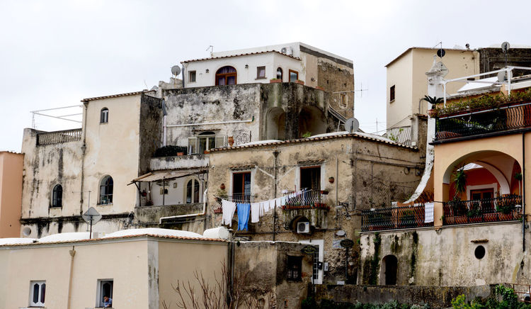 buildings in southern Italy Amalfi Coast Architecture Blue Building Exterior Built Structure Laundry Low Angle View No People Old Outdoors Poor  Poverty Residential Building Southern Italy