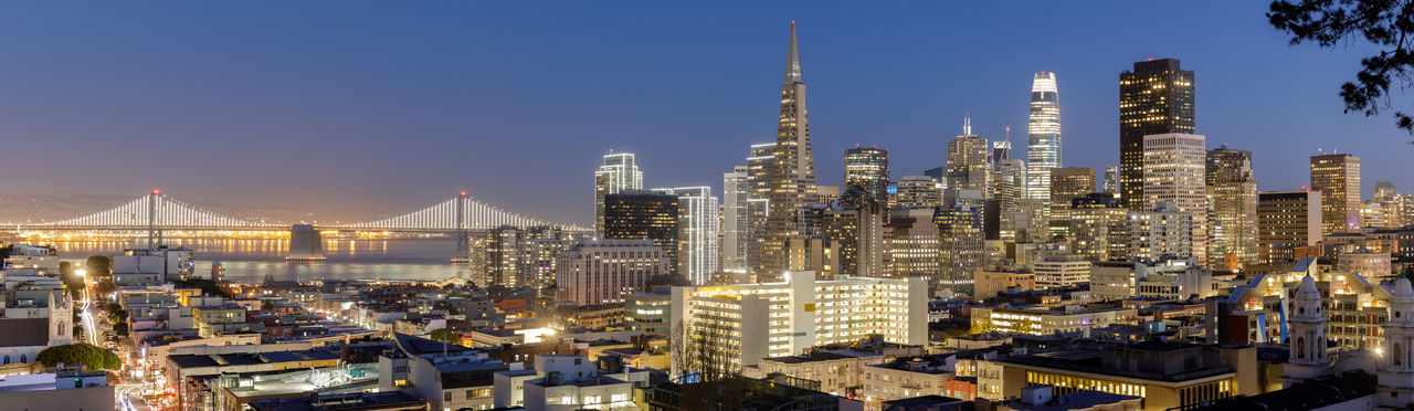 San francisco panoramic cityscapes with holidays lights via russian hill during the blue hour