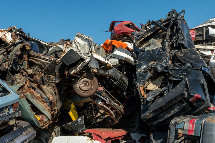Heap of damaged cars