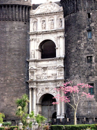 Castello Nuovo Arch Architecture Castello Nuovo Castle Entrance Historic Italy Medieval Naples