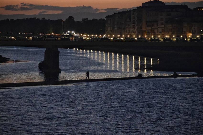 Arno River River Arno Florence, Italy Florence The Best City In The World City Visit Italy Reflection Outdoors Night Sky People Nature Water Reflection Shadows & Lights City Life Scenics Shadow Silhouette Silhouettes River Real People Light Lifestyles Connected By Travel