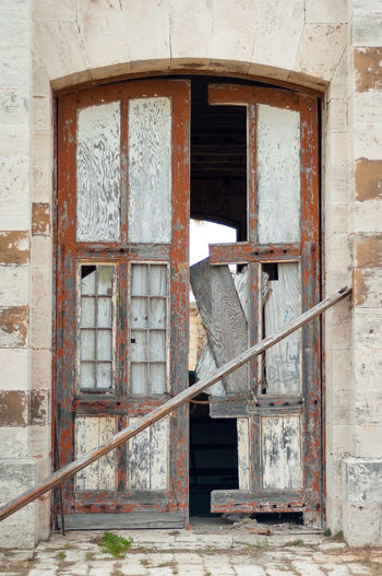 Ruined door on