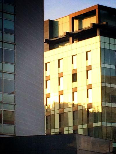 Sunset Urban Geometry Reflection Architecture