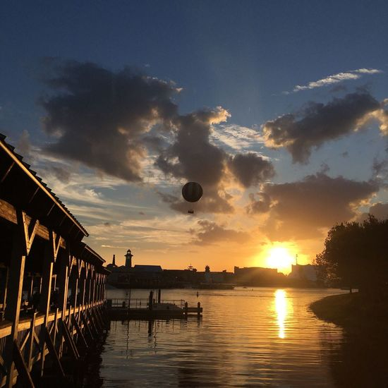 Sunset Sun Water Lake Sky Outdoors Clouds Cloudy Day Cloud - Sky Beauty In Nature No People Disney Disney Springs Balloon The City Light