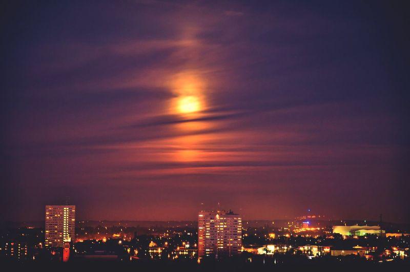 Nightsky Night Cityscapes Birmingham Moonlight Moody Sky Moon