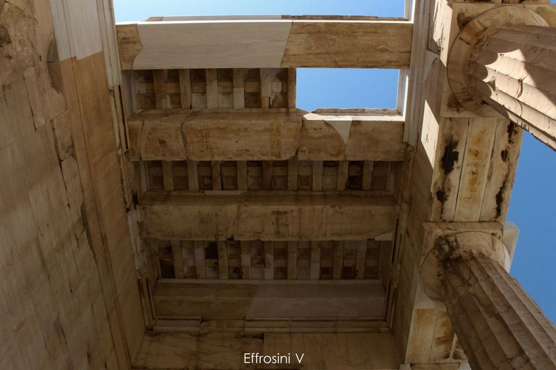 Ancient Architectural Column Architecture Blue Day Historic Low Angle View No People Old Propylaea Rooftop Sky