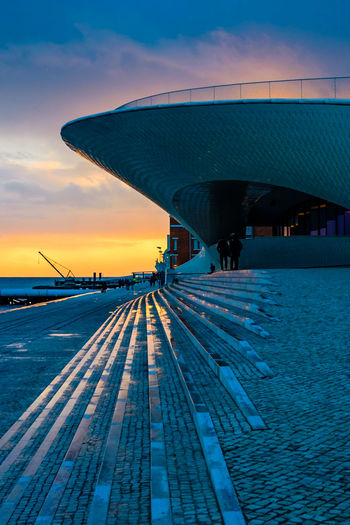 Architecture Architecture_collection Bridge Over Water Lisbon - Portugal MAAT Museum Maat, Portugal, Belem Sunset_collection The Week on EyeEm Architecture Bridge Bridge - Man Made Structure Built Structure Cloud - Sky Connection Lisbon Maat - Museum Museum Nature Outdoors Sea Sky Sunset Transportation Travel Water