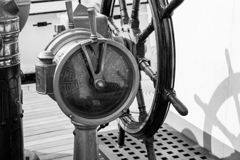 Black And White Close-up Day Deck Equipment Machinery Maritime Mode Of Transport Monochorme Nautical No People Old-fashioned Outdoors Rudder Sailing Ship Seaside Speedometer Sunny Tall Ship Telegraph Time Transportation Wheel Wooden