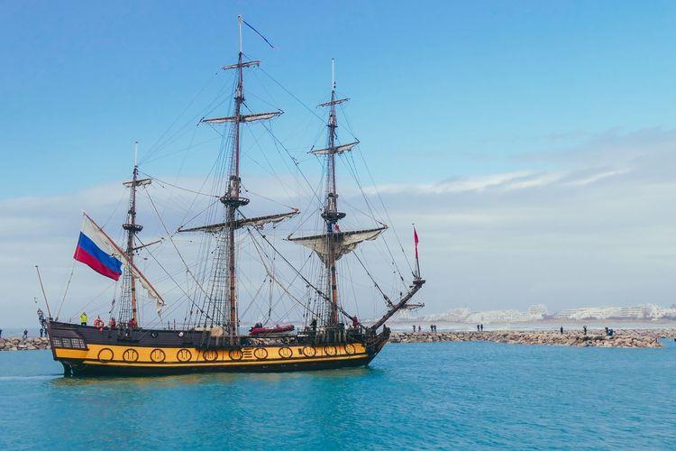 Shtandart La Grande Motte Mediterranean  Pyramid Sea And Sky EyeEm Selects Sailing Ship Water Nautical Vessel Sea Mast Harbor Blue Sailing Sailing Boat Boat
