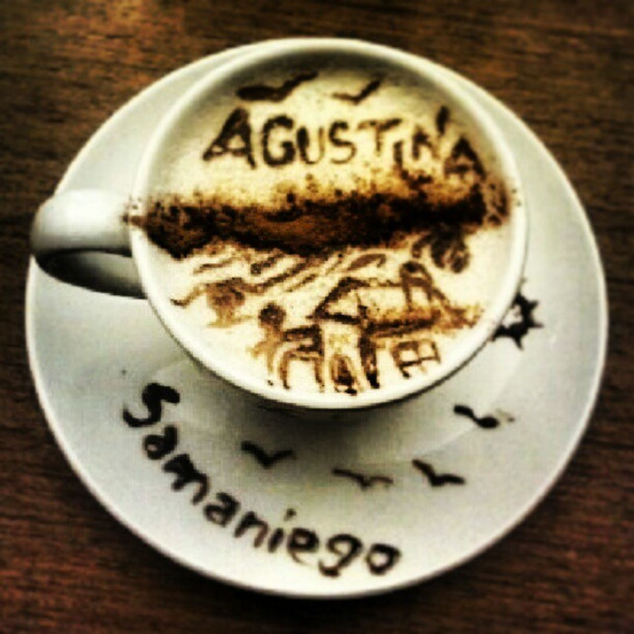 coffee cup, food and drink, coffee - drink, text, close-up, communication, no people, drink, plate, frothy drink, indoors, freshness, sweet food, food, day, froth art