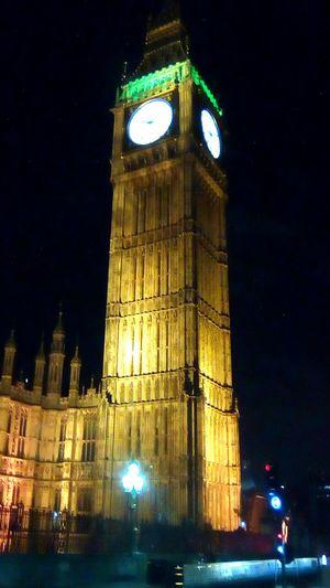 Darkness And Light Illuminated City Architecture Midnight Clock Face London Mystical