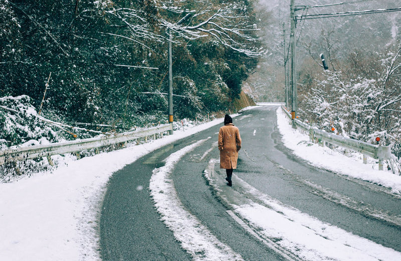 Rear View Of Woman Walking On Snow