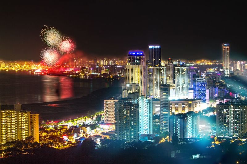 Penang Island, Malaysia, Night Cityscape with Fireworks in the background. Architecture Arts Culture And Entertainment Building Building Exterior Built Structure City Cityscape Exploding Financial District  Firework Firework - Man Made Object Firework Display Illuminated Landscape Light Modern Motion Nature Night No People Office Building Exterior Outdoors Sky Skyscraper Urban Skyline