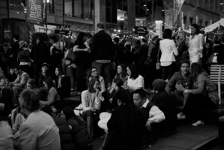 My Year My View Drinking together Large Group Of People Crowd Men Women Real People People Adults Only Adult Night Outdoors Monochrome EyeEm Best Shots