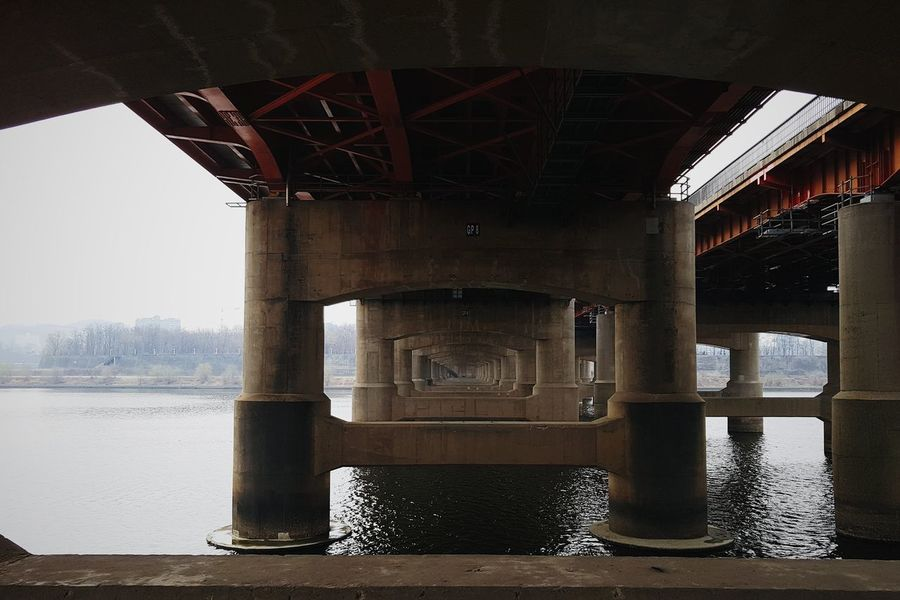 Built Structure Bridge - Man Made Structure Architecture Below Architectural Column Day Underneath No People Outdoors Water Han River River Korea Seoul ASIA Hangang Bridge Bridge Concrete hangang bridge over the han river in seoul, south korea