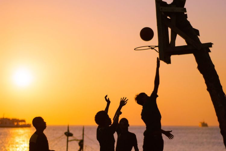 Waiting Game Silhouette Sports Sunset Orange Color Outdoors Lifestyles People Game Sun Nature