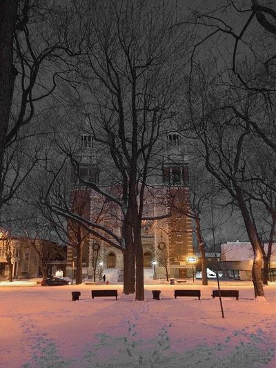Nightphotography Urban Landscape Church Winter
