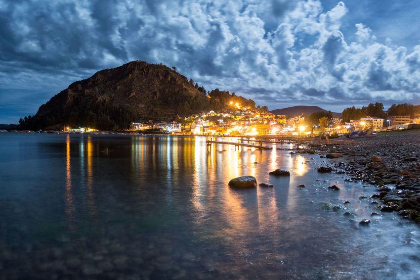 Copacabana Bolivia Beauty In Nature Illuminated Mountain Night Water First Eyeem Photo