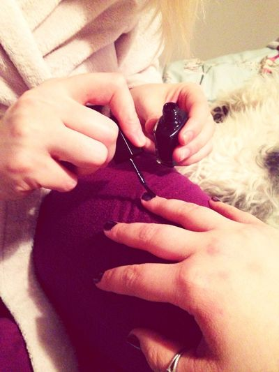 Painting Nails Bond Cousins  Purple
