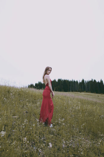 One Person Field Land Clothing Fashion Young Women Nature Outdoors Red Dress Forest Hill