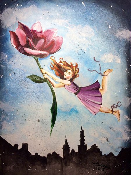 """Finished another piece tonight """" She looked at the Sky and Knew it was Time to Fly"""" Illustration Art ArtWork Love"""