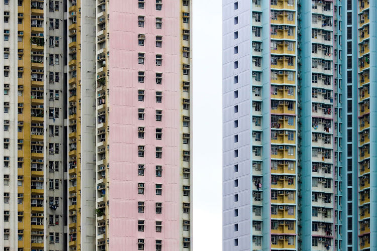 Full frame shot of a colorful urban architecture