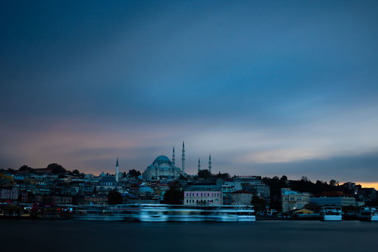 Long exposure shot of suleymaniye mosque
