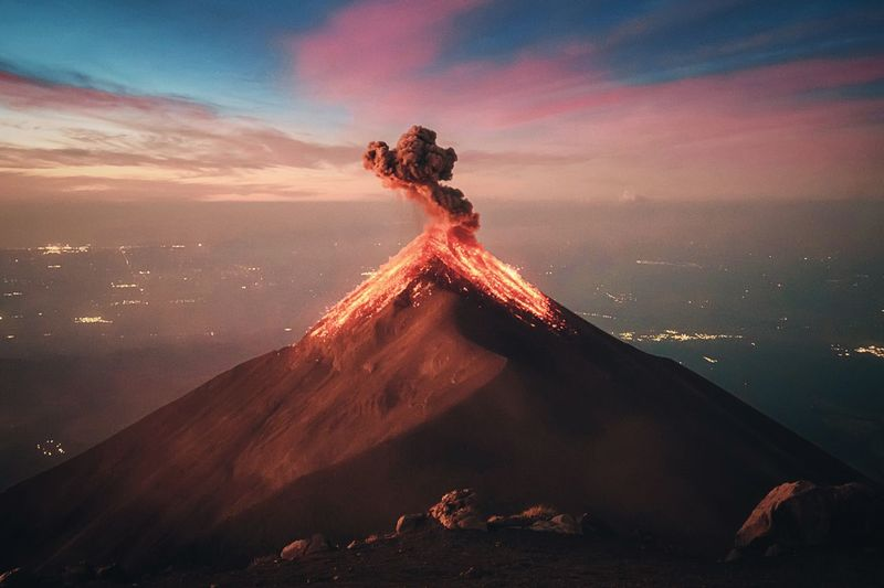 Volcanic landscape against sky during sunset in guatemala