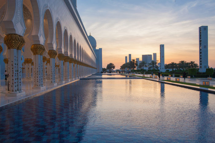 Abu Dhabi Architectural Column Architecture Building Building Exterior Built Structure Grand Mosque Muslim Reflection Religious  Sky Sunset Water