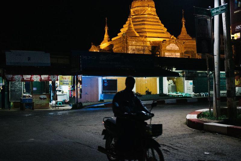 Kalaw,Myanmar Streetphotography Bike Gold Pagoda Night Lights Shadow Fujifilm X-pro2 2016 EyeEm Awards People Together Hidden Gems  Check This Out Night Street Eyeemfestival16 People And Places Neighborhood Map