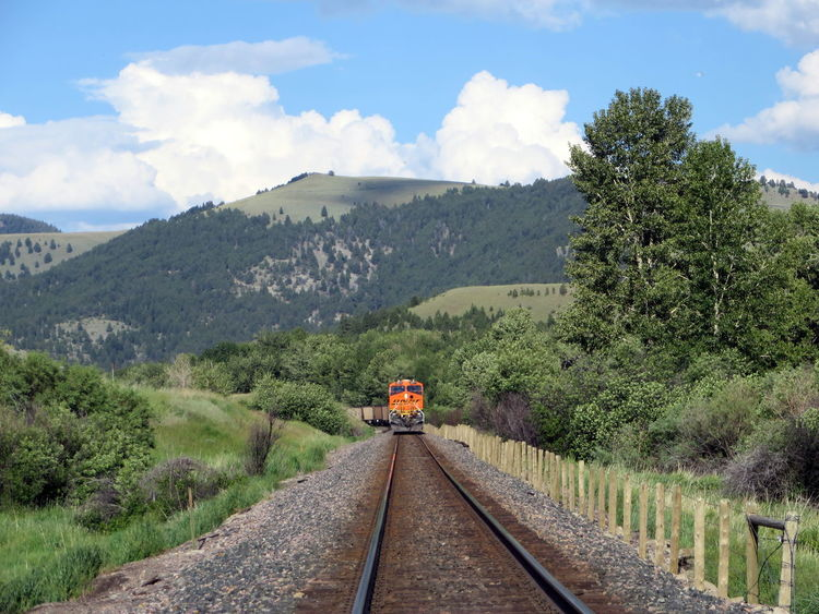 Train coming on tracks near Garrison Montana Cloud - Sky Diminishing Perspective Green Color Landscape Montana Mountain On Track Outdoors Railroad Track Sky Train Train Tracks Tree Vanishing Point