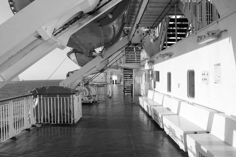 Empty corridor of boat