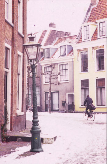 Leiden cityscape with snow Analogue Photography Architecture Beauty In Nature Bike Building Building Exterior Built Structure City City Cityscape Day Film Holland Leica Leiden Netherlands Outdoors Snow Urban Winter