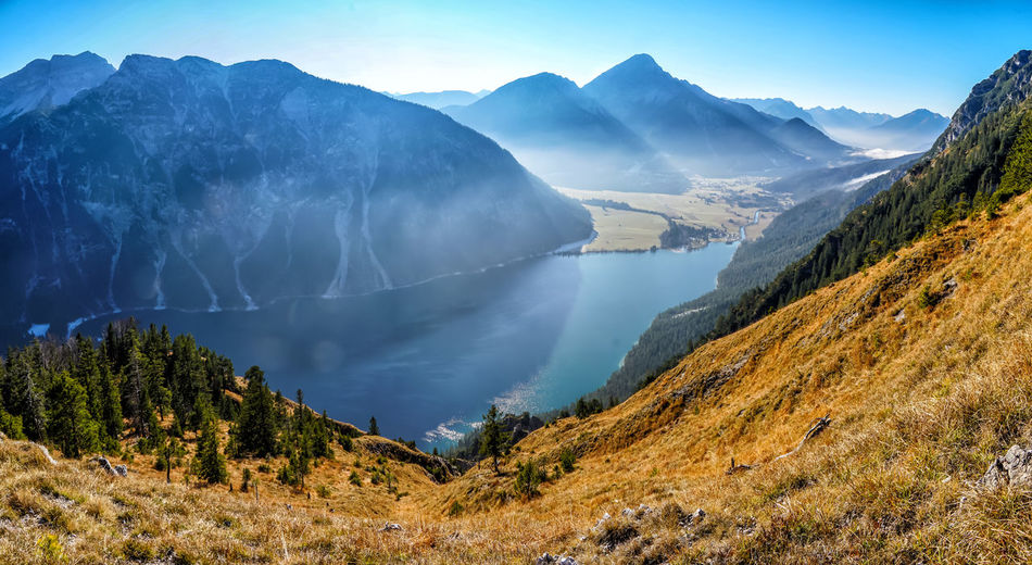 Heiterwangersee from mount Tauern Beauty In Nature Scenics - Nature Mountain Tranquil Scene Tranquility Non-urban Scene Environment Plant Sky Tree No People Water Nature Landscape Mountain Range Day Remote Idyllic Outdoors Mountain Peak Mountain Lake Autumn Tyrol Austria The Great Outdoors - 2019 EyeEm Awards