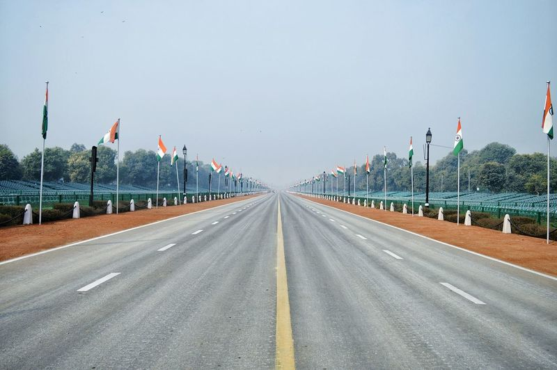 Road The Way Forward Sky Outdoors Straight Day No People City Urban Skyline Modern Cityscape Architecture Politics And Government Delhi Indiapictures