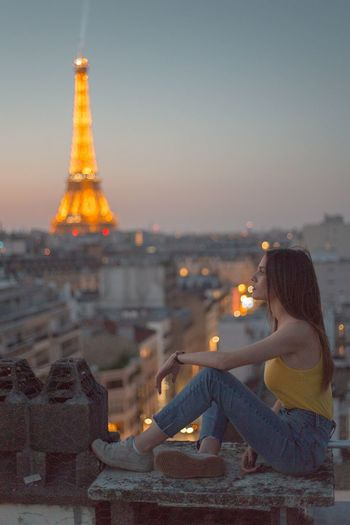 Leila in Paris Fine Art Photography Portrait Of A Woman Portrait Girl Paris, France  Paris Eiffel Tower Architecture Sky Built Structure Illuminated Nature City Building Exterior Travel Destinations Sunset Dusk Tower History Travel