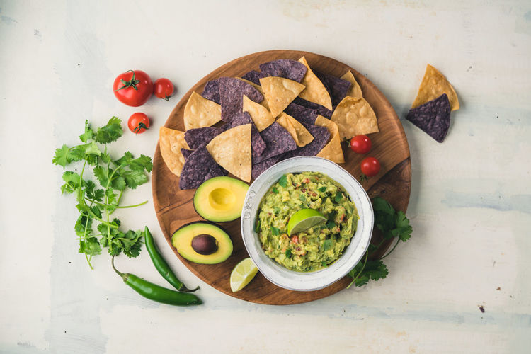 Guacamole and chips Fresh Ingredients Snack Avocado Bowl Cherry Tomato Chips Chips And Dip Directly Above Food Food And Drink Football Food Freshness Garnish Guacamole Guacamole Time Healthy Eating Herb Lime Peppers Ready-to-eat Serving Size Table Tomato Tortilla Chips Vegetable