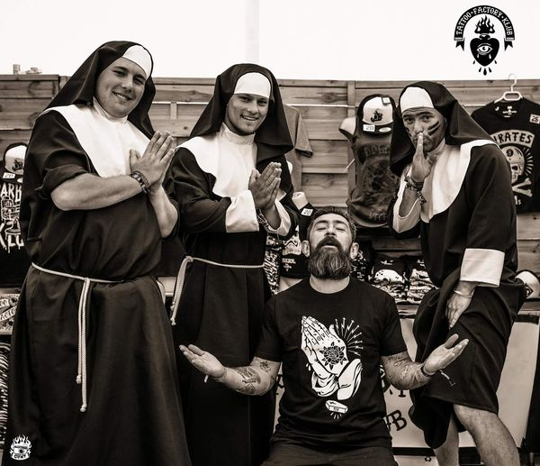 Pray for him ... Tattoofactoryklub Nun Crazytimes Godson Pirate MadeInFrance Madness Innocent Manwithbeard ManWithTattoos Friendly Metalmusic Jesuslove Followme Barber Handtattoo Beard Withmytfk Frenchbrand Musicfestival Absolution HighwayToHell Download Festival France Mdr Men Friendship Togetherness Males  Females Fan - Enthusiast Clothing