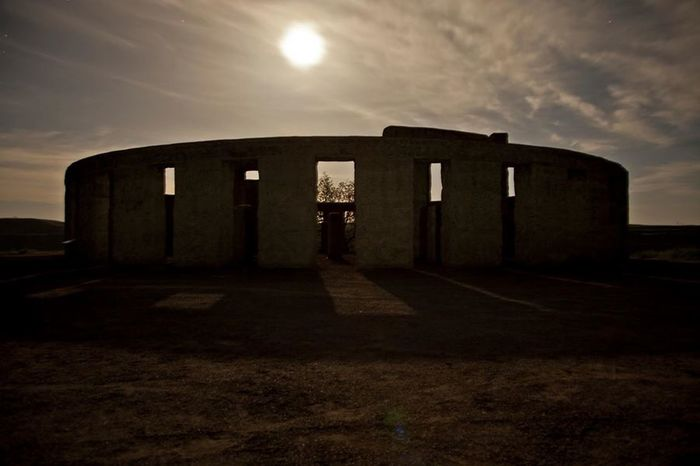 Long exposure of Stonehenge Memorial in Washington under the moon. Check This Out Unedited Flashlight And A Tripod Painting With Light Stonehenge Memorial Washington State Traveler Hello World Stock Photo Darkness And Light Night Photography Canon