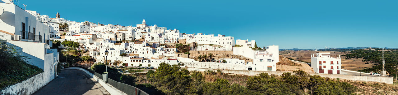 Panorama of Vejer de la Frontera. Costa de la Luz, Spain Andaulcia Architecture Costa De La Luz Cádiz, Spain Europe Famous Place Hillside Hilltop Landmark Landscape Mediterranean  Outdoors Panorama Panoramic Picturesque Village Pueblo Blanco Skyline SPAIN Street Town Travel Destinations Vejer De La Frontera  Village Whitewashed Houses Wide Angle
