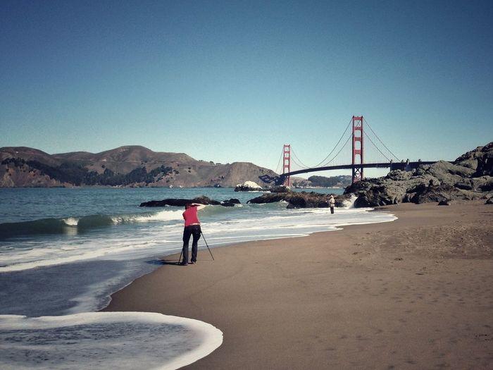Tourists on bridge